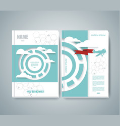 Design of magazine cover with airplane flying vector