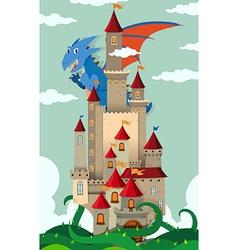 Dragon flying over castle vector
