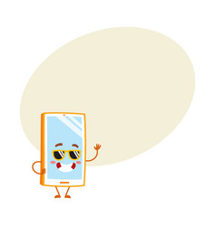 Funky cartoon mobile phone smartphone character vector