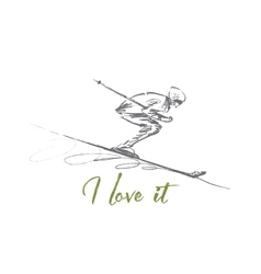 Hand drawn skier rolling down with lettering vector image vector image
