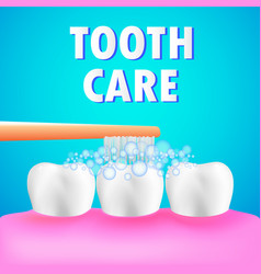 Healthy human teeth and tooth brush tooth care vector