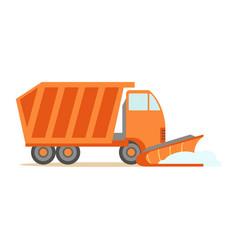 Heavy truck with empty trailer part of roadworks vector