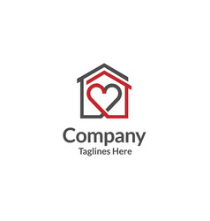 house and heart logo home care logo vector image vector image