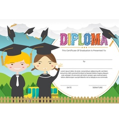 Kids Diploma Certificate Background Design Templat vector image