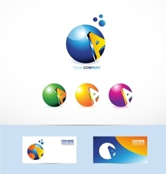 Letter a sphere logo vector