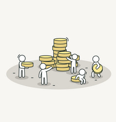 little white people bring coins to stack teamwork vector image