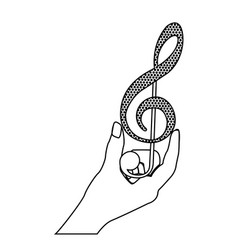 Monochrome silhouette of hand holding a treble vector
