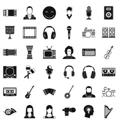 Music icons set simple style vector