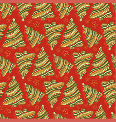 new year and christmas seamless pattern cartoon vector image vector image