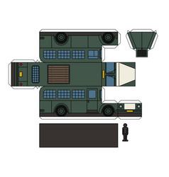 paper model of a vintage prison bus vector image vector image