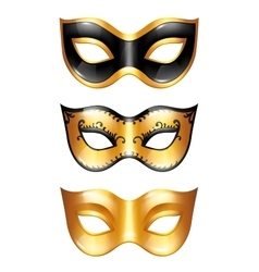 Set of golden carnival venetian masks on white vector image vector image