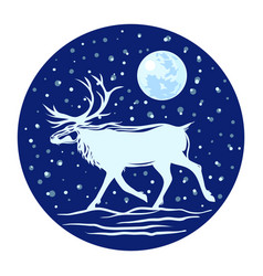 silhouette of a reindeer with horns against the vector image