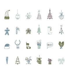 Sketch Christmas icon set handmade for your vector image