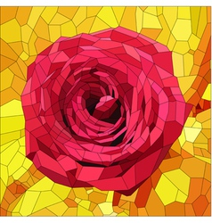 Stained glass with red rose on orange and yellow vector