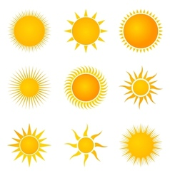 Sun set icons vector image