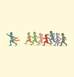 the winner group of children running marathon vector image vector image