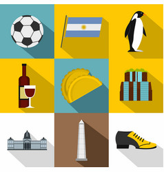 Tourism in argentina icon set flat style vector