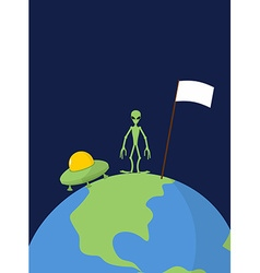 Ufo and alien with white flag stands on earth vector