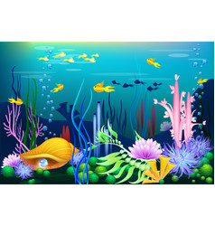 undersea world with golden seashell fish and vector image vector image