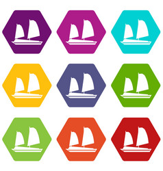 Vietnamese junk boat icon set color hexahedron vector