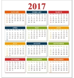 Wall Calendar for 2017 from Sunday to Saturday vector image