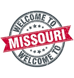Welcome to missouri red round vintage stamp vector