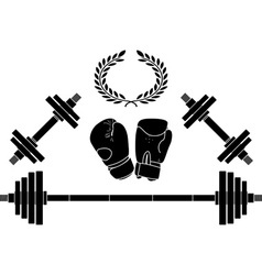 Weights and boxer gloves vector