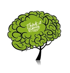 Think green Brain tree concept for your design vector image