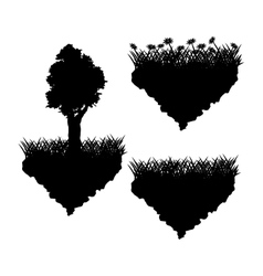 Grass tree and flowers silhouette design vector