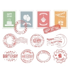 Birthday colorful postal stamps set vector