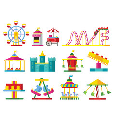 Colorful attractions collection vector