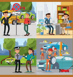 People and automobile square concept vector