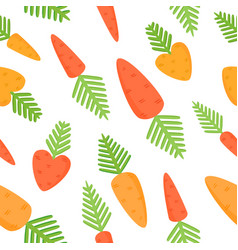 Seamless pattern with cartoon carrots vector