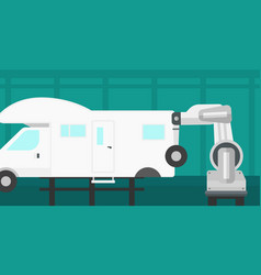 factory robot assembling vehicle in assembly shop vector image