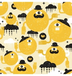 Eamless texture with yellow monsters vector