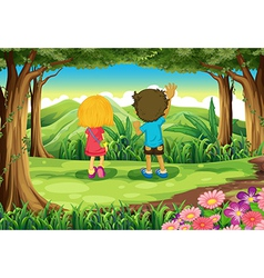 Two kids at the forest watching the mountains vector image