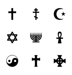 Religious symbols icon set vector