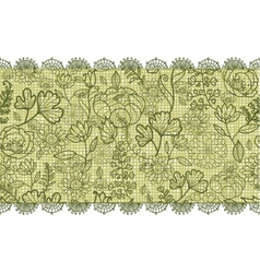 Green lace flowers horizontal seamless pattern vector image