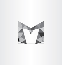 Letter m polygon grayscale icon vector