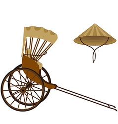 Rickshaw and hat vector