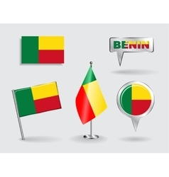 Set of benin pin icon and map pointer flags vector