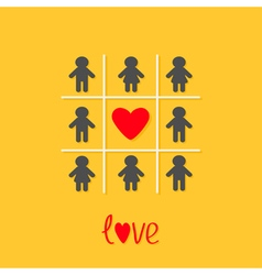 Man woman icon tic tac toe game red heart sign vector