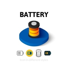 Battery icon in different style vector