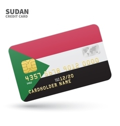 Credit card with sudan flag background for bank vector
