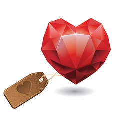 Red heart diamond - vector