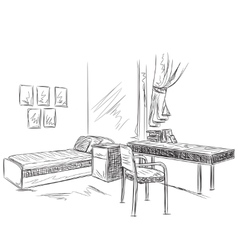 Room interior sketch bedroom with workplace vector