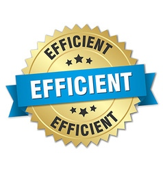 Efficient 3d gold badge with blue ribbon vector