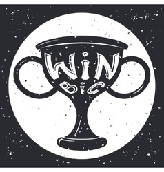 Grunge win cup symbol icon concept on stylish vector