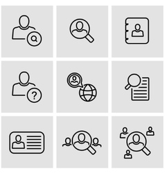 Line people search icon set vector