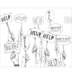 Help signs in hands vector